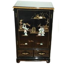 8. Chinese Black Lacquer Storage Chest wDecoration