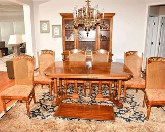 11. Provincial Style Mahogany Dining Room Set wChina Cabinet