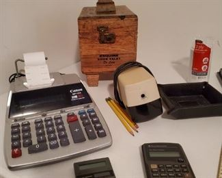Adding machines and calculators, Vintage Shoe Shine kit and a pencil  sharpener