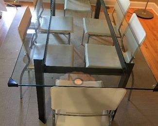 "36"" x 80""Crate and Barrel Glass Table"