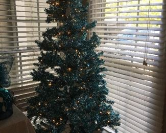 6 foot Christmas tree with blue lights