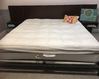 King Platform Bed with attached night stands