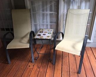 Sling patio chairs & tile top iron table