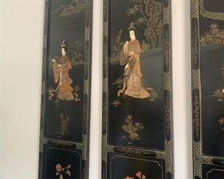 Asian Chinese Lacquer Ebonized Tea Screens Coral, Jade, Mother of Pearl/ Chinese Deco $2000 OBO Available for pre sale purchase