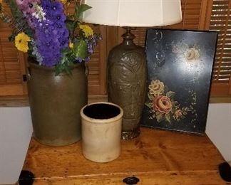 Primitives, crocks and metal collectibles