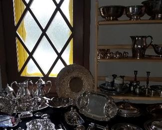 Large selection of silver plate, sterling and pewter