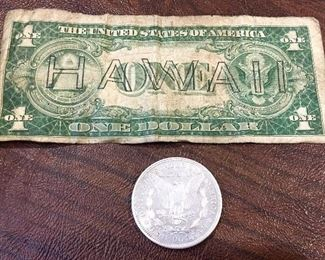 1935 Hawaii Silver Certificate & 1921 silver dollar (back)