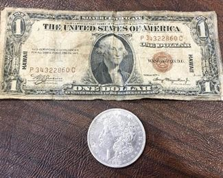 1935 Hawaii Silver Certificate & 1921 silver dollar (front)