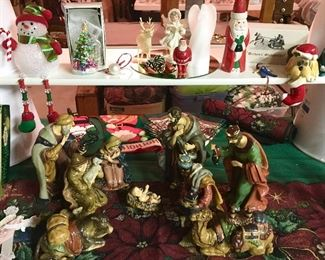 Vintage & modern Christmas decor, large ceramic Nativity Set