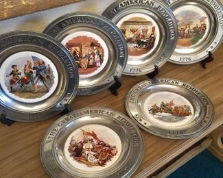 Pewter rimmed American Revolution plates, Canton, Ohio