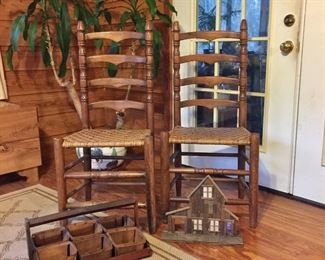 Ladder back chairs and decor