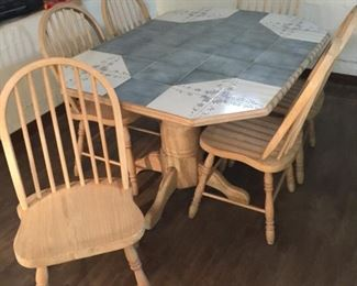 Tile top dining table with 6 chairs