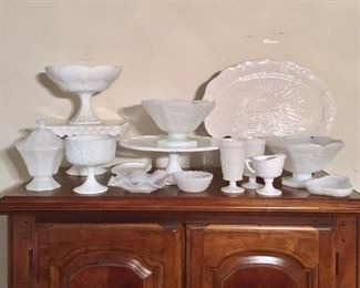 White and milk glass pieces