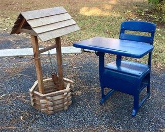 Garden well and vintage school desk