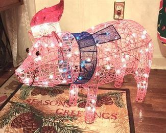 Lighted Christmas Pig