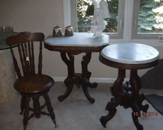Antique Marble Top Side Tables and Chair
