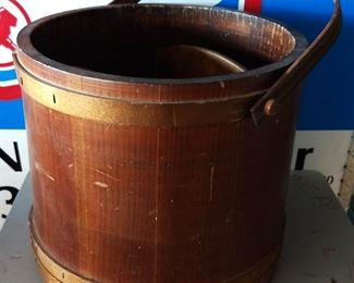 Vintage Wood Bucket with Magazine Rack Inserts