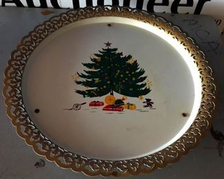 Vintage Musical Christmas Tray