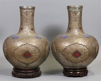 pair of Chinese Mongolian silver vases