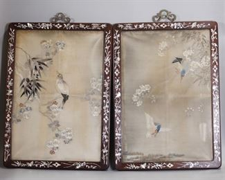 pair of framed Chinese embroideries, possibly 19th c.