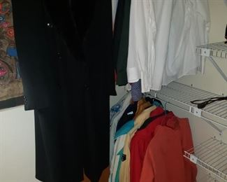 Men's clothing and coats...size L/XL.  Woman's 100% cashmere coat.