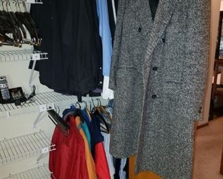 Woman's wool coat. More men's clothes L/XL.