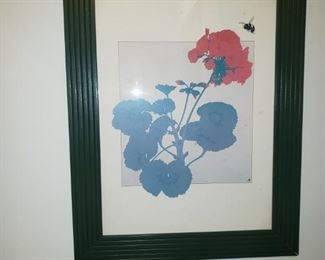 Flower and bee framed print