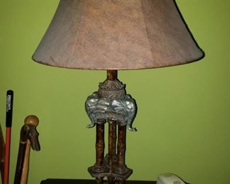 One of a pair of elephant lamps