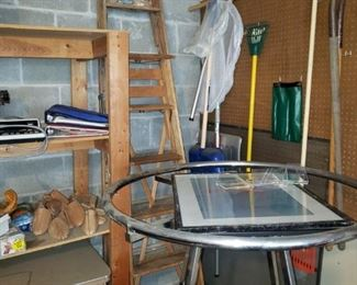 Clothing rack, wood ladders, shovels and more