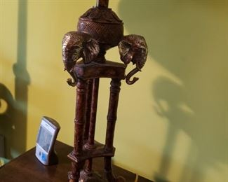 Another view of the 3 headed elephant lamp (pair)