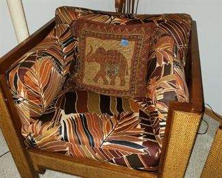 Beautiful pillow, safari chairs, floor lamps