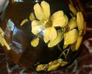 Hand painted floral pottery