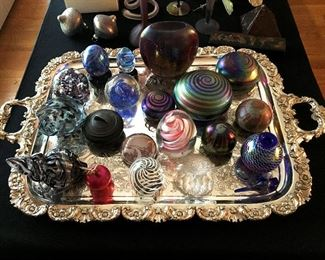 art glass paper weights, silver-plated serving tray