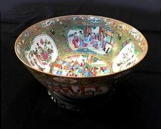 antique Rose Medallion punch bowl