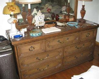 part of a complete bedroom set-dresser, bed 2 nightstands