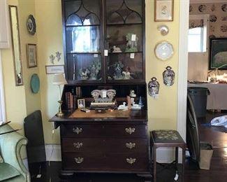 English desk and bookcase