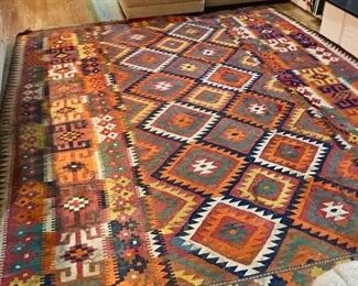 """Vintage Kilim rug. 8ish x 10ish? Huge, beautiful and VINTAGE. #Afghanistan  """" A very beautiful older Maimaneh Kilim made by the ethnic Uzbek people in Afghanistan. The one shown is 10 times better then the newly made mass productions. This is certainly worth more."""" ~Rug Expert Chicago"""