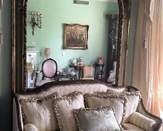 Antique Sofa, Huge WallMirror, Throw Pillows