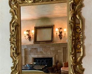Fine quality vintage large gold gilt mirror.