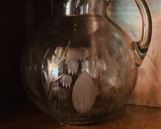 lily of the valley etched glass pitcher.