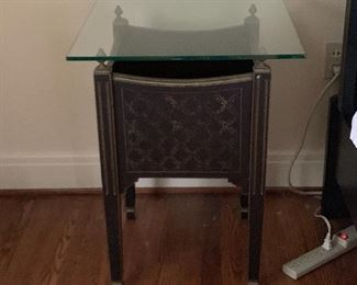 Pair of  glass top nightstands.