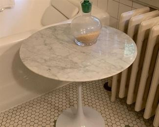 Modernist marble top side table.