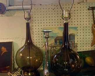 A pair of vintage glass lamps ca 60-70s