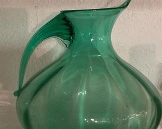 Vintage handblown glass pitcher.