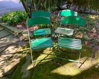 Vintage metal lawn chairs.