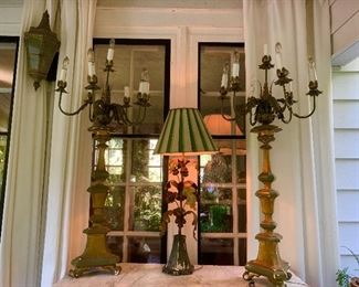 A pair of dramatic Candelabra  style lamps.
