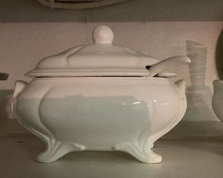 Pair of classic white tureens.
