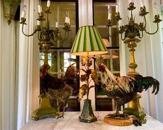Fabulous candelabra style lamps, taxidermy chickens.