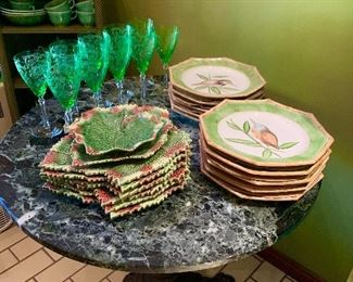 Lovely green Stems, and dishware perfect for the person who loves the color green.