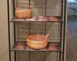 Wicker Shelf Unit and Longaberger baskets